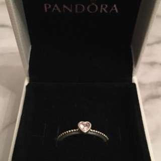 silver Diamond Pandora ring with box