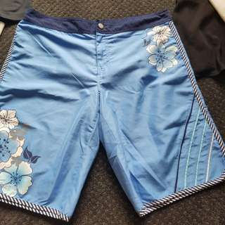 Size 12- Blue floral print board shorts swimwear