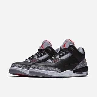 Nike air Jordan 3 喬登 黑水泥 爆裂紋