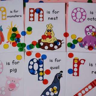 Laminated alphabet sheets for dots or putting counters! GreT for learning alphabets