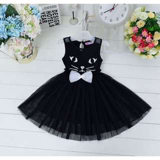 cat bow princess dress for baby kids