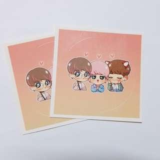 BTS 飯製貼紙x2
