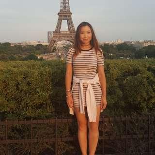 Stripy stretchy t-shirt dress