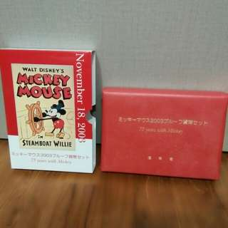 LIMITED EDITION AND RARE! JAPAN MINT 2003 MICKEY 75th ANNIVERSARY SILVER 925 PROOF COIN SET