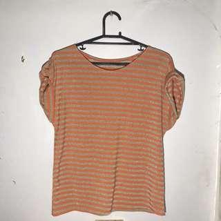 Gold & Orange Stripe Top