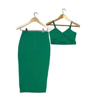 HEATHER CLOTHING EMERALD GREEN Crop Top & Midi Skirt Dress