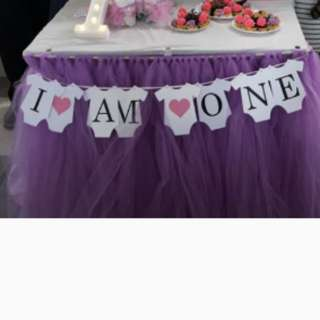 Baby 1 year old party table tutu skirting