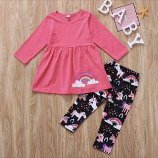 Baby Girl Long-Sleeved Top and Pants set