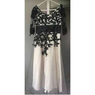 Black and white lace formal/wedding dress