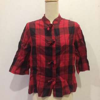 Checkered Top Crop Flannel