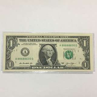 Rare USD 1 dollar note A88888600D