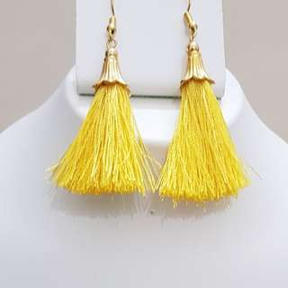 Yellow Colored Tassel Earrings