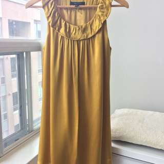 BCBG Max Azria 100% Silk Gold Yellow Prom Cocktail Dress