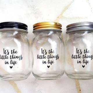 Gold Lid Mason Glass Jar Calligraphy Quote