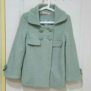 🎈韓版 超美 排釦湖水綠外套 後外套 保暖  傘擺 蒂芬妮綠