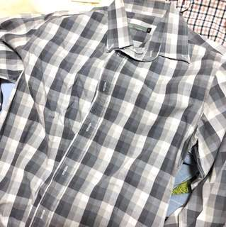 Benjamin barker grey with white checked long sleeve shirt