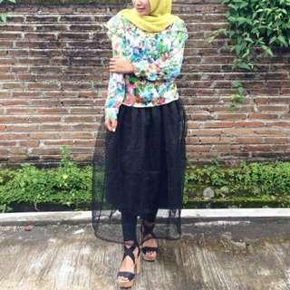 Rok hitam polka skirt