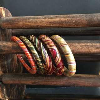 印度 木 手環 手鈪 金鐲