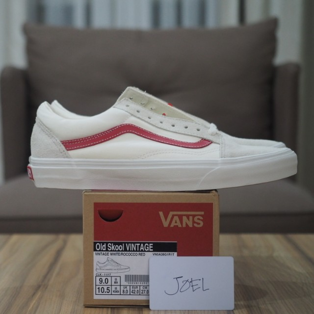 a3326e8b3fe989 8.5US-10.5US Vans Old Skool Vintage White   Rococco Red