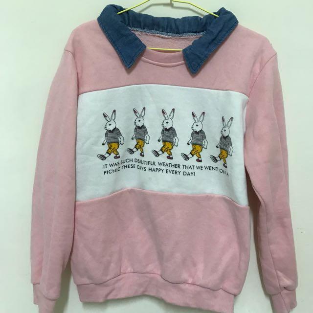 粉色兔子內刷毛上衣