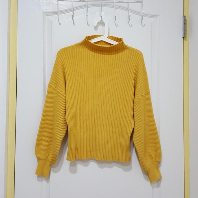全新黃色燈籠袖泡泡袖微高領毛衣