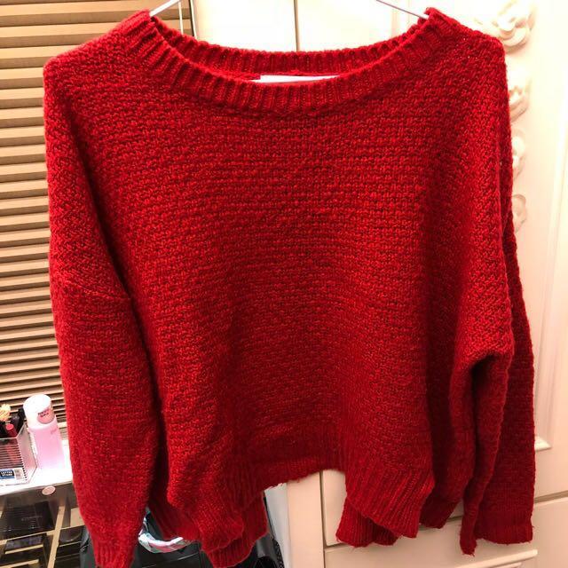 喜氣洋洋紅色毛衣