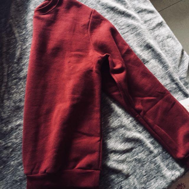 全新內磨毛酒紅色親膚保暖衛衣