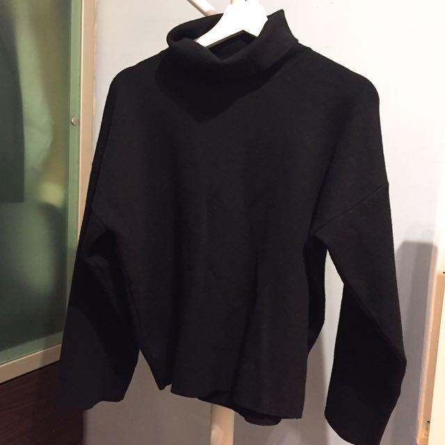 重磅數質感黑色高領針織毛衣