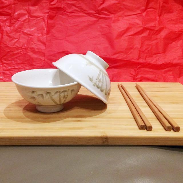 全新兩人陶瓷飯碗組(付筷子)