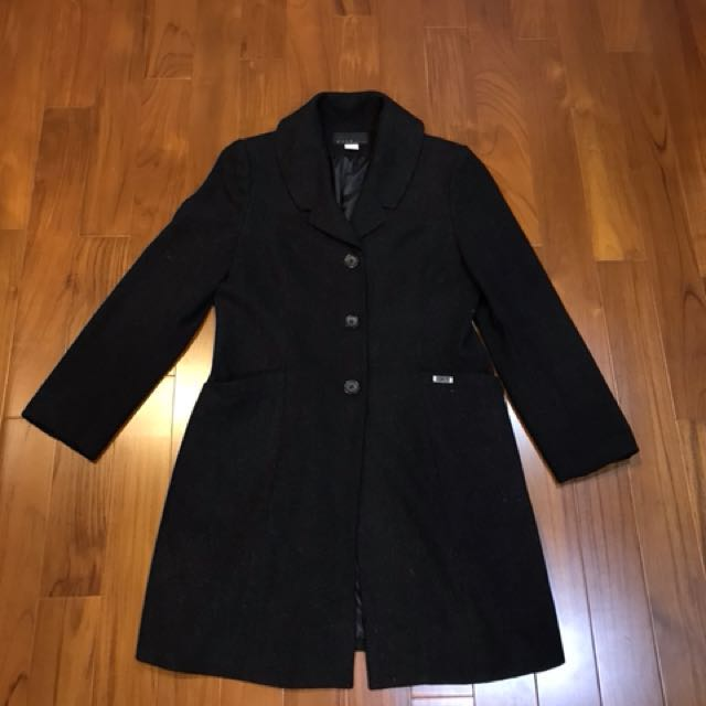 超有質感 羊毛長大衣 (黑色)