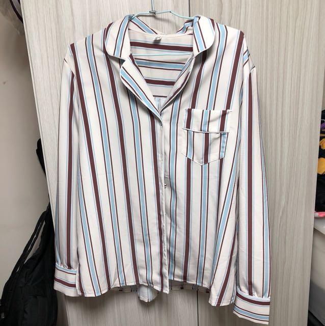長袖 直條 襯衫 復古上衣
