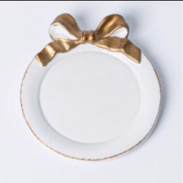 蝴蝶結 精緻飾品盤 甜點盤🖤 (白色)