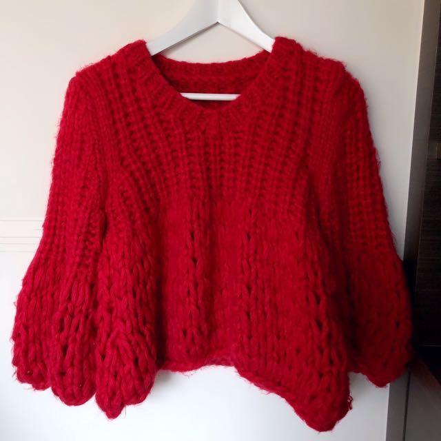 正韓 粗針織厚毛衣 過年 紅色 喇叭袖