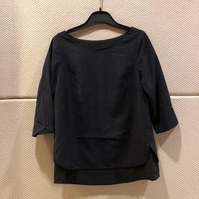 全新 日系專櫃 MK(MICHEL KLEIN) 假2件直條紋上衣