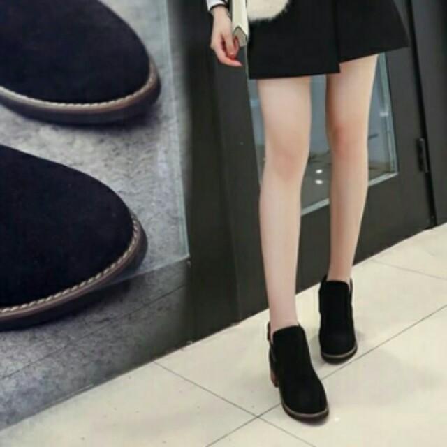 ❤麂皮黑靴  短靴側V開口 #超取再七折