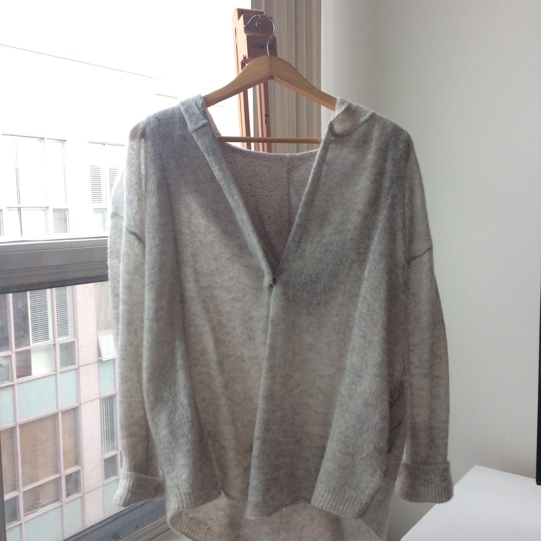Anthropologie Moth Alpaca Wool Grey Hoodie