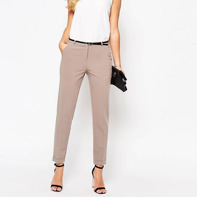 ASOS Cigarette Trousers Pants in Tan with Black Belt Size 8