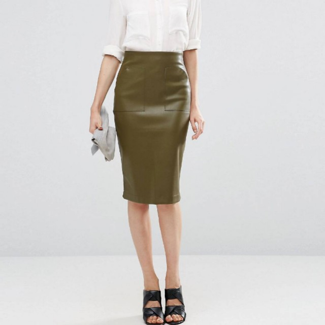 ASOS Pocket Detail Faux Leather Midi Skirt in Olive Green - Size 8 RRP $69