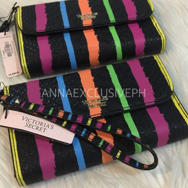 Authentic Victoria's Secret Multi Stripe Tech Clutch Wristlet