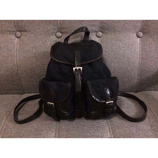 90933f5330a833 ... czech authentic vintage prada bag pack nylon and leather made in italy  very rare womens fashion