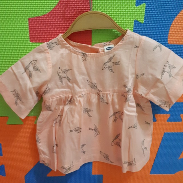 Babys' blouse with bird print