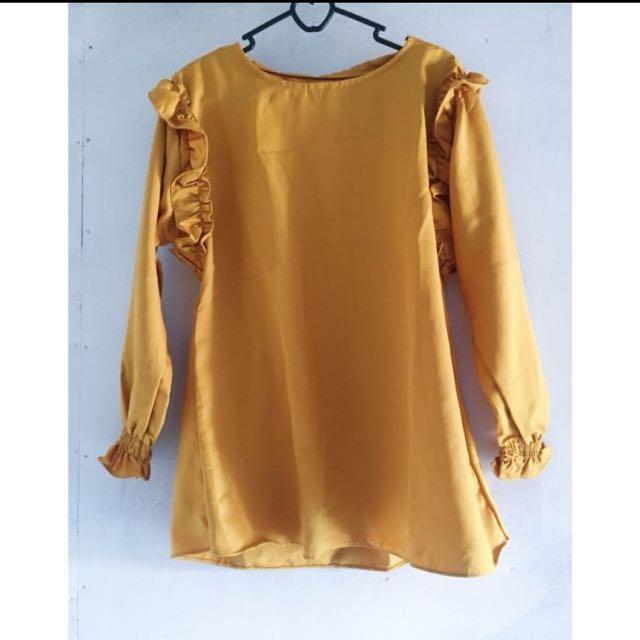 baju atasan warna mustard