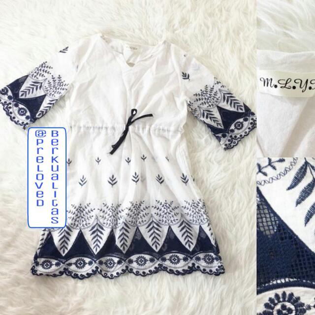 Baju MLYX Whiter Blue Bordir Sleeve Dress Premium Branded Top Atasan Baju Kerja Santai Pesta