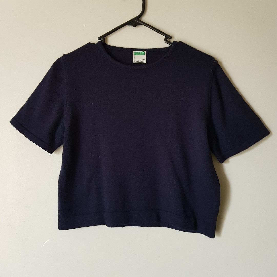 Benetton Navy Crop Top