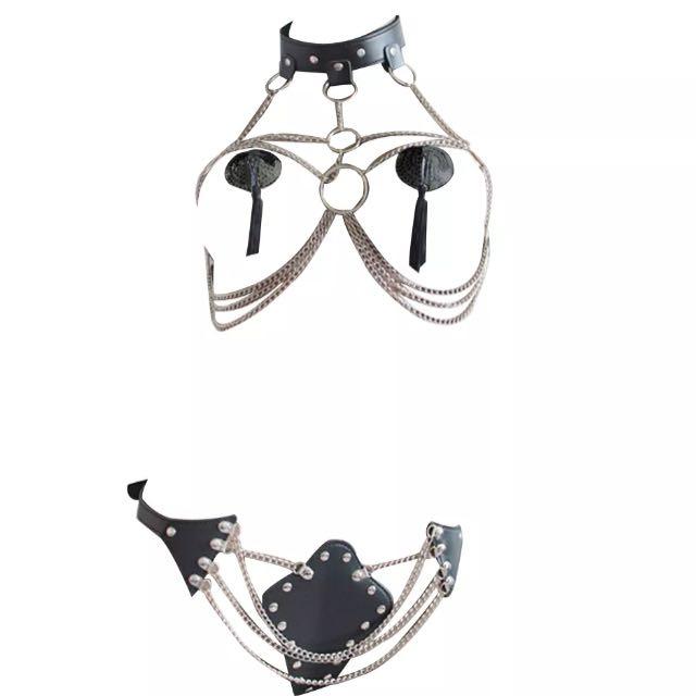 Black faux vegan leather & chain bra set