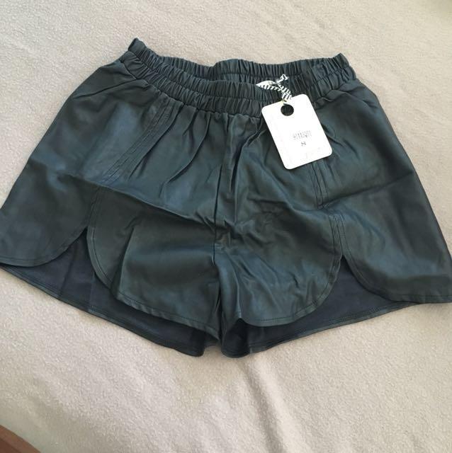 Black leather short size 8