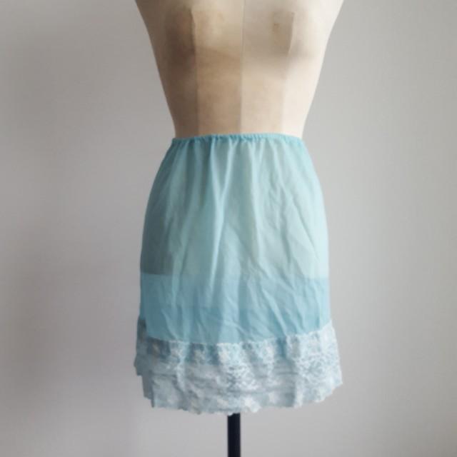Blue & White Lace Sheer Skirt