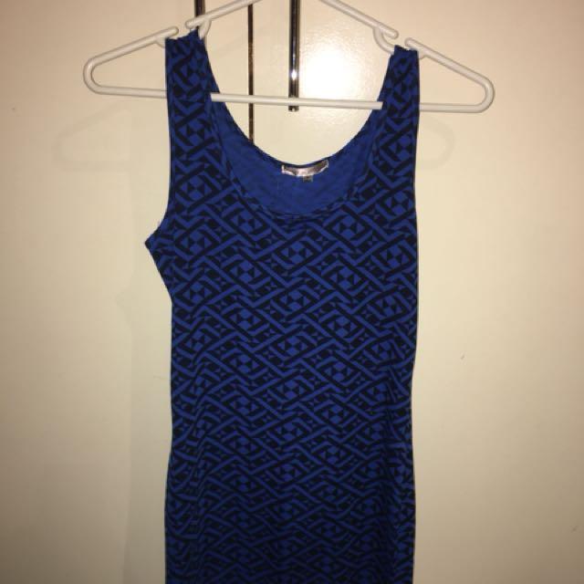 Blue Aztec bodycon party clubbing dress