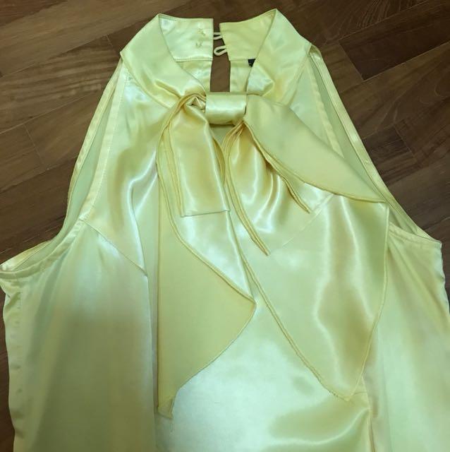 BN ✨ Glitter Glam Silk Top - Yellow