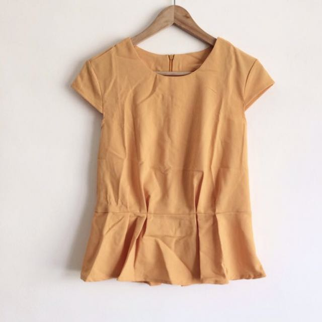 BN Mustard Yellow Peplum Top with Capped Sleeves